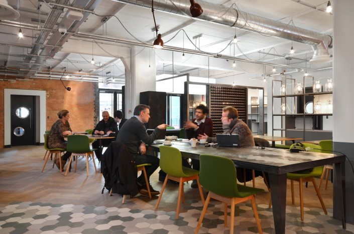 Hot desking co working shared office space at the for Shared office space design